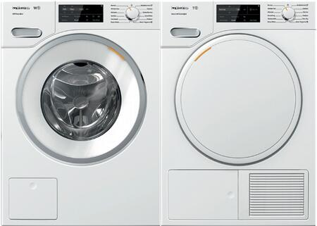 White Front Load Laundry Pair with WWF060WCS 24 inch  Front Load Washer and TWF160WP 24 inch  Electric