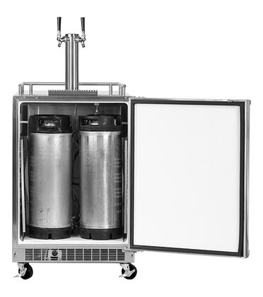 "60HKTSSXBLR Solid Stainless Steel Door 24"" Outdoor Mobile Beer Dispenser with Twin Tap  Casters  Mug Rail  6.54 Storage Capacity  PRO Handle  Dynamic Cooling"