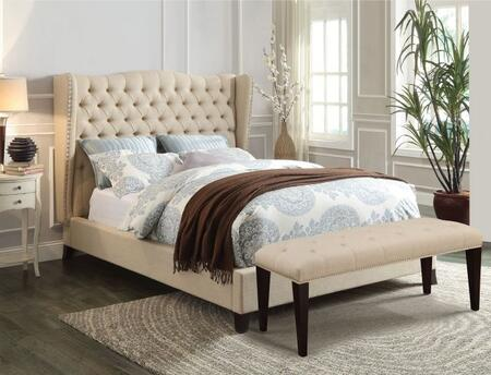 Faye Collection 20647EKB King Size Bed with Wingback Headboard  Nail Head Trim  Espresso Tapered Legs  Button Tufted Headboard and Linen Upholstery in Beige