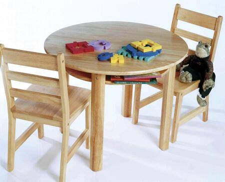 524 Lipper Child's Round Table with Shelf and 2 Chairs in Natural