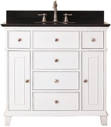 "Windsor Collection WINDSOR-VS36-WT-A 36"" Sink Vanity with Black Granite Top  Undermount Sink  2 Soft-Close Doors  2 Interior Shelves and 6 Drawers in"