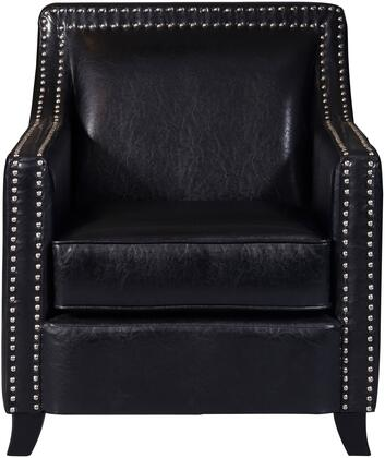 DS-D113002 Faux Leather Swoop Arm Accent Chair with Tapered Ebony Finished Wood Legs  Swoop Arm Style and Brushed Nickel Nail Head Trim in