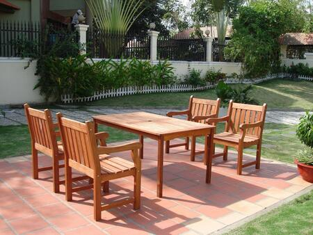 V98SET8 Outdoor Wood Balthazar Rectangular Table and  4 V209 Outdoor Wood