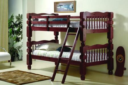 1110-2MT/T Twin Over Twin Jumbo Bunk Bed with Turned Posts  Built in Ladder  Slat Headboard and Footboard in Merlot