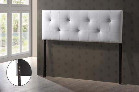 Baxton Studio BBT6432-White-HB-Queen Kirchem Headboard with Crystal Button-Tufting  Foam Padding  Rubberwood Frame and Faux Leather