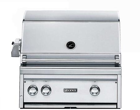 L27R-2NG 27 inch  Professional Series Built-In Natural Gas Grill with 2 Brass Burners  685 sq. in. Cooking Surface  Illuminated LED Controls  Temperature Gauge