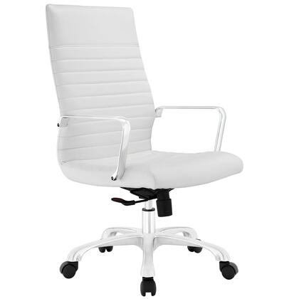 Finesse Collection EEI-1061-WHI Office Chair with 360 Degree Swivel  High Backrest  Adjustable Height  Polished Aluminum Frame and Ribbed Vinyl Upholstery in