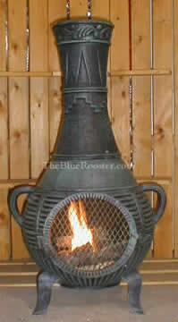 ALCH015AGGKLP Gas Powered Pine Chiminea Outdoor Fireplace in Antique Green - Liquid