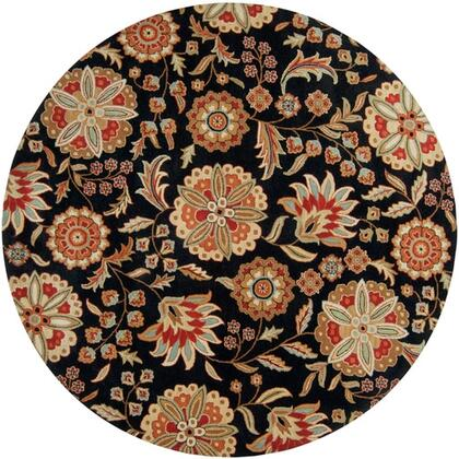 Athena Collection ATH5017-6RD Round 6' Area Rug  Hand Tufted with Wool Material in Black and Red