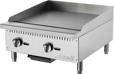 C-G24 24 inch  Competitor Series Commercial Natural Gas Griddle with 2 Burners  Manual Ignition  Stainless Steel Construction  and Removable Waste Tray  in