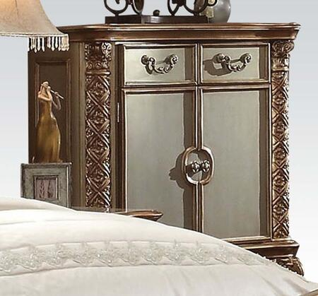 Vendome Collection 23006 43 inch  Chest with 2 Doors  3 Drawers  Shelf Inside  Metal Hardware  Poplar and Aspen Wood Construction in Gold Patina