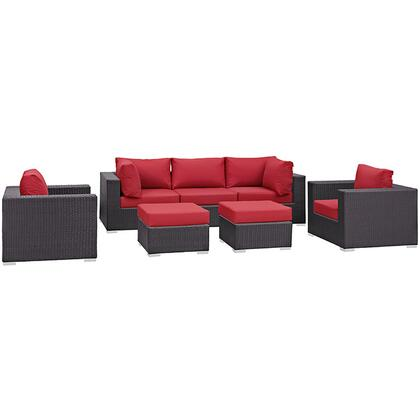 Convene Collection EEI-2200-EXP-RED-SET 7-Piece Outdoor Patio Sectional Set with Armless Section  2 Armchairs  2 Corner Sections and 2 Ottomans in Espresso and