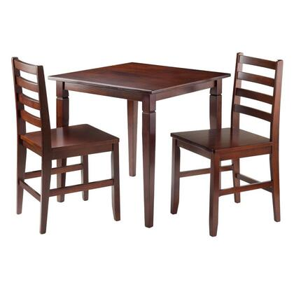 94363 Kingsgate 3-Pc Dinning Table with 2 Hamilton Ladder Back Chairs in Antique Walnut