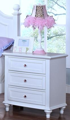 05-242-042 Megan Youth 26 inch  Nightstand with Three Drawers  Turned Legs  Beaded Molding Details and Decorative Hardware  in