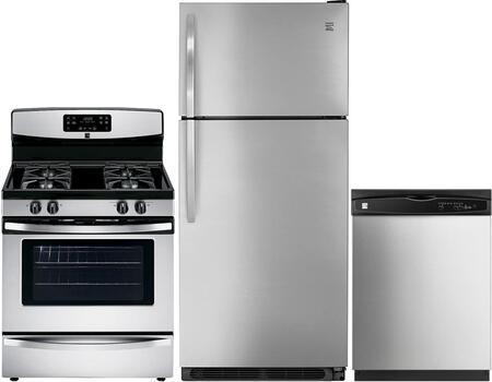 4-Piece Stainless Steel Kitchen Package with 60085 Top Freezer Refrigerator  74033 Freestanding Gas Range  80323 Over-the-Range Microwave and 17383