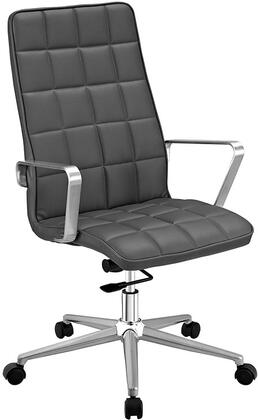 Tile Collection EEI-2126-GRY Highback Office Chair with Adjustable Height  Swivel Function  Dual-Wheel Nylon Casters  Brushed Aluminum Armrests  Powder Coated