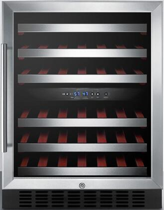 "SWC530BLBIST 24"" Dual Zone Wine Cooler with 46 Bottle Capacity  Digital Thermostat  Automatic Defrost  Interior Light and Factory Installed Lock  in Stainless"