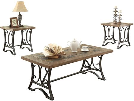 Kiele Collection 81125 3 PC Living Room Tabe Set with Slate Top Insert  Trestle Base  Wood Veneer Materials and Engineered Wood Construction in Oak and Antique