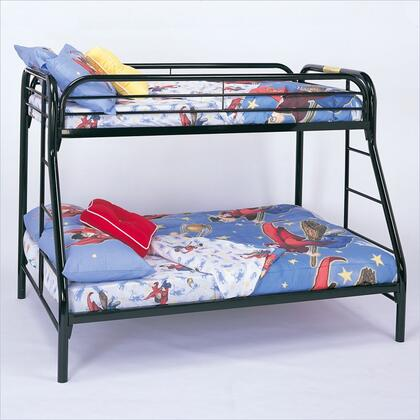 Fordham 2258K Twin Over Full Bunk Bed with Built-In Ladders  Full Length Guard Rails and Two Inch Metal Tubing Construction in Black