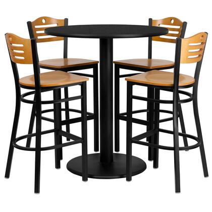 MD-0020-GG 36'' Round Black Laminate Table Set with Wood Slat Back Metal Bar Stool and Natural Wood Seat Seats