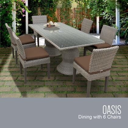 Oasis-rectangle-kit-6c-cocoa Oasis Rectangular Outdoor Patio Dining Table With 6 Armless Chairs With 2 Covers: Grey And