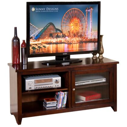 "3447CA-52R 52"""" TV Console with Rib Glass Door and 2 Adjustable Shelves in Cappuccino"" 255793"