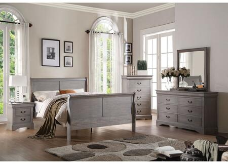 Louis Philippe III Collection 25500QSET 5 PC Bedroom Set with Queen Size Bed + Dresser + Mirror + Chest + Nightstand in Antique Grey