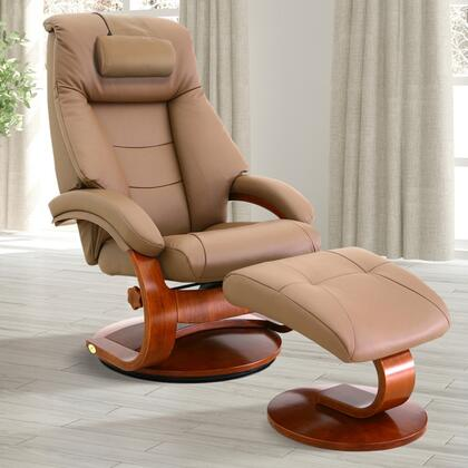 Oslo Collection 58-LO3-24-103-CP 19 inch  Manual Recliner and Ottoman with Adjustable Cervical Pillow  Swivel Mechanism  Pillow Top Back Cushion and Top Grain