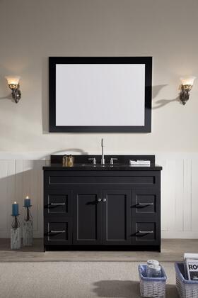 F049SABBLK Ariel Hamlet 49 inch  Single Sink Vanity Set with Absolute Black Granite Two Doors and Four Drawers in