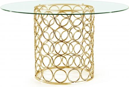 Opal Collection 737-T 54 inch  Dining Table with Round Shape  Clear Glass Top  Contemporary Style and Stainless Steel Frame in Gold