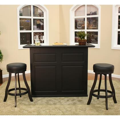 "Trenton Series 713605-I 58"" Bar Set Includes Bar with Open Shelving and a Wine Cooler Bay  and Two Designer Backless Stools Finished in Black with Vinyl"
