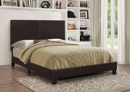Mauve Collection 300557Q Queen Size Platform Bed with Faux Leather Upholstery  Clean Line Design  Solid Wood Legs  Tall Headboard and Low Profile Footboard in