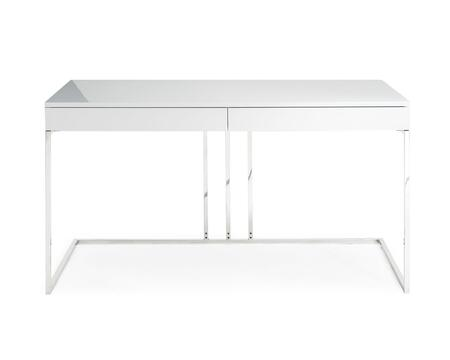 DK1412WHT Sabine Desk In High Gloss White Lacquer With Stainless Steel