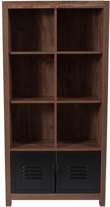 New Lancaster Collection NAN-JN-21736BF-GG 29 inch  Storage Shelf with 2 Metal Locker Doors  6 Open Storage Compartments and Wood Grain Laminate in Crosscut Oak