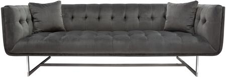 "Hollywood_Collection_HOLLYWOODSODG_87""_Sofa_with_Velvet_Fabric_Upholstery__Tufted_Cushioning__Stainless_Steel_Legs_and_Pillows_Included_in_Dusk"