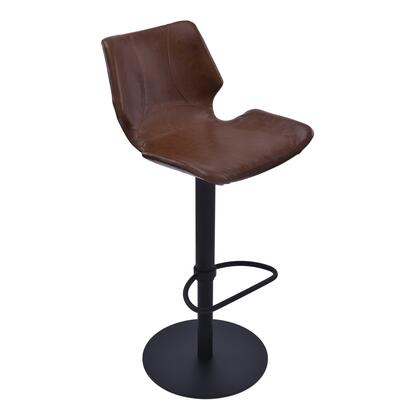 Zuma Collection LCZUBAVCBL Bar Stool with Swivel Seat  Adjustable Height  Polyurethane Foam Cushion  Matte Black Metal Frame Finish and Faux Leather Upholstery
