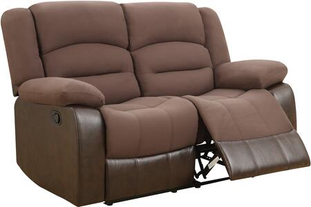 U98243-D128-CHOCOLATE PU-RLS 60 inch  Reclining Loveseat with   Plush Padded Arms and Waterfall-Style Seatbacks in Chocolate