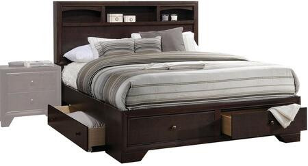 Madison II Collection 19557EK King Size Bed with Storage Drawers  Bookcase Headboard  Low Profile Footboard  Rubberwood and Chipboard Construction in Espresso