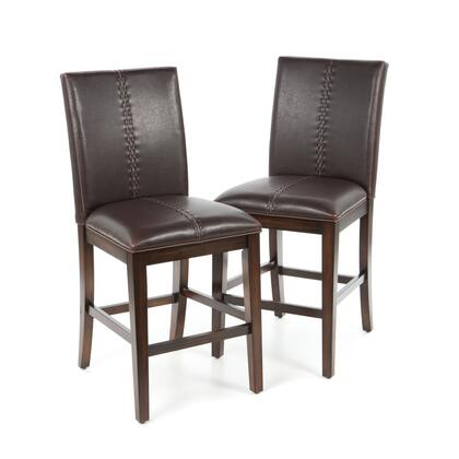 MESAM369K Set of Two Mesa Rustica Parsons Counter Stools with Easy Care PU Leather  Pirelli Webbing Seat and Hand Stitched Detail in Aged Mahogany