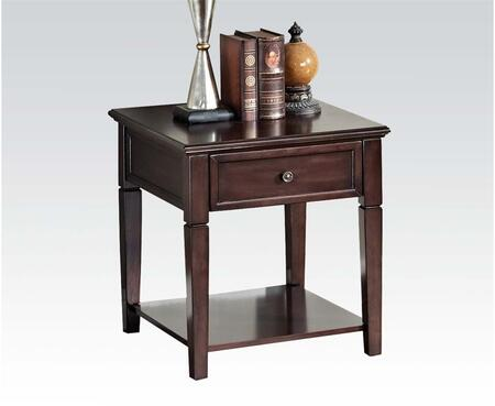 Malachi Collection 80255 22 inch  End Table with 1 Drawer  Bottom Shelf  Metal Hardware  Tapered Legs  Poplar Wood and Basswood Veneer Materials in Walnut