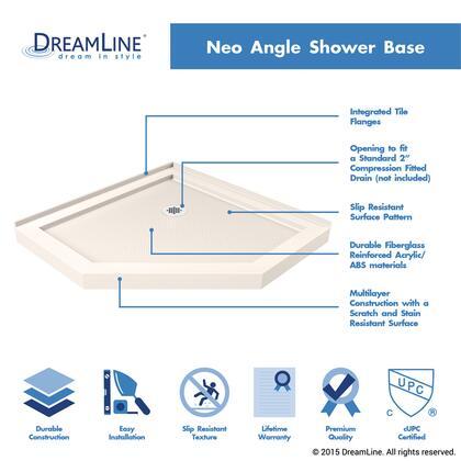 DLT-2042420-22 Neo Angle 42 inch  x 42 inch  x 2.75 inch  Shower Base with Slip-resistant Textured Floor and High Quality Scratch and Stain Resistant Acrylic Construction in