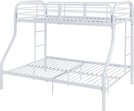 Tritan Collection 02043WH Twin Over Full Size Bed with Built-in Side Ladders  Full Length Guardrail  Slat System Included and Metal Construction in White