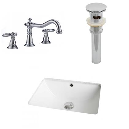 AI-12981 18.25-in. Width x 13.5-in. Diameter CUPC Rectangle Undermount Sink Set In White With 8-in. o.c. CUPC Faucet And