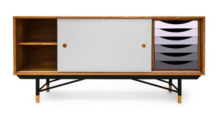 STO-SB-THEORY-NATGRY 1955 Color Theory Mid-Century Modern Sideboard Credenza  Natural Ash/Grey
