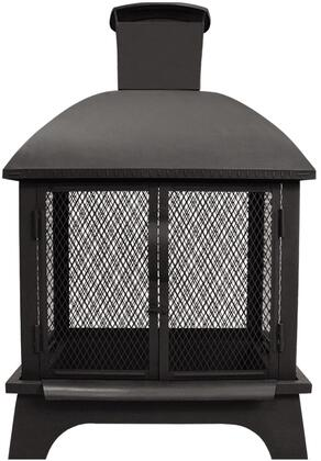 25722 Redford Outdoor Fireplace with Locking Latch  Large Chimney  Spark Screen  Removable Fire Pan and Built-In Wide Bar Ribs in Black