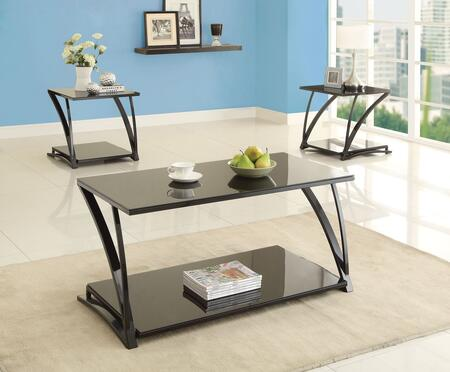 Tamori 81385CET 3 PC Living Room Table Set with Coffee Table + 2 End Tables in Black
