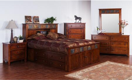Santa Fe Collection 2334dcsqbdm2nc 6-piece Bedroom Set With Storage Queen Bed  Dresser  Mirror   2 Nightstands And Chest In Dark Chocolate