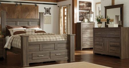 Juararo Queen Bedroom Set With Poster Storage Bed  Dresser  Mirror And Chest In Dark
