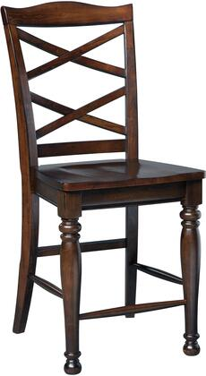 Porter D697-124 Barstool with X-Motif Back  Turned Legs  Solid Hardwood Construction and Burnished Brown
