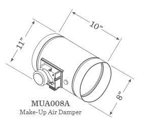 "MUA008A 8"""" Universal Make-Up Air Damper"" 350475"
